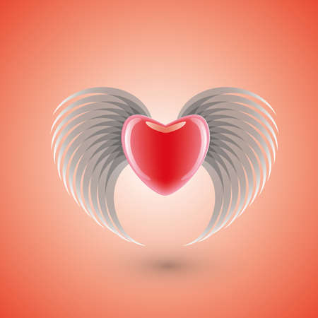 flying heart Vector