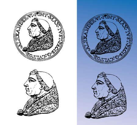 monet: Roman emperor, engraving, bust Illustration