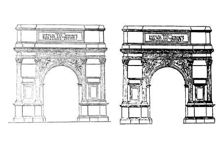 arch engraving Vector