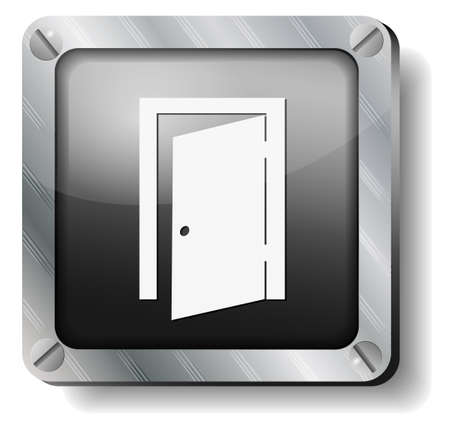steel exit door icon Stock Vector - 14988274