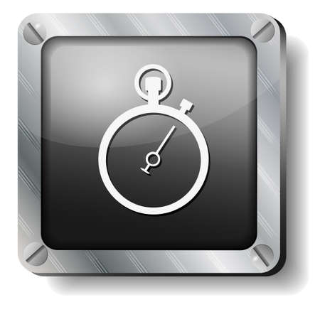 timer: steel stopwatch icon Illustration
