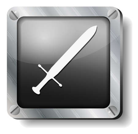 steel sword icon Stock Vector - 14988276