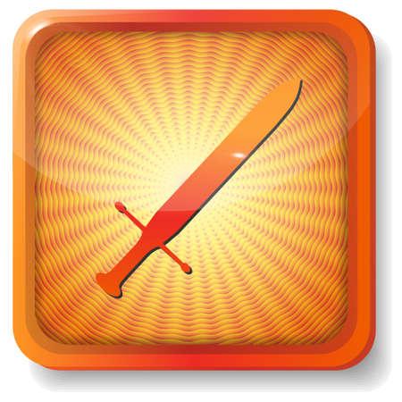 orange sword icon Stock Vector - 15272341