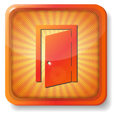 orange exit door icon Stock Vector - 15419646