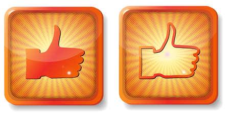 orange thumb up Stock Vector - 15419470