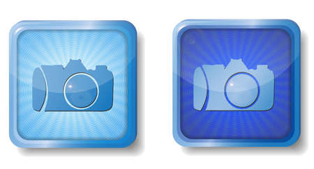 blue radial camera icon Stock Vector - 15437650