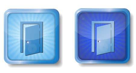 hinges: blue radial exit door icon Illustration