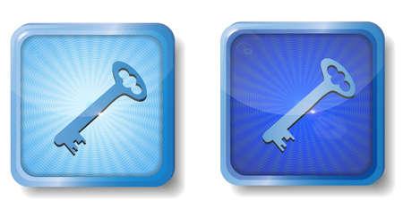 forbidden to pass: blue radial key icon Illustration