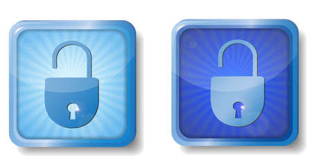 blue radial open lock icon