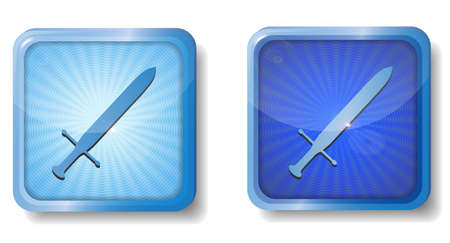 blue radial sword icon Stock Vector - 15437748