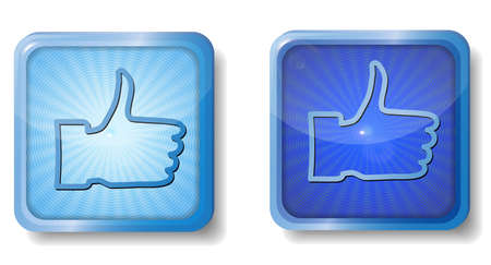 blue radial thumb up icon Stock Vector - 15437660