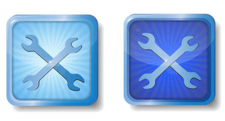 blue radial wrench icon Stock Vector - 15437661