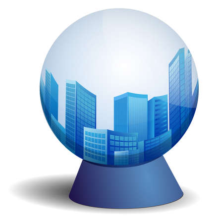 city in scrying ball Illustration