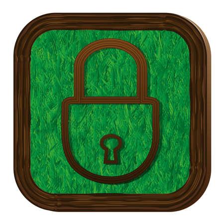 closed lock: tree-herbal closed lock icon Illustration