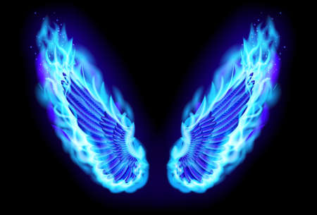 fire skull: blue fire wings