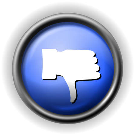 ineffective: Glass thumb down icon Illustration