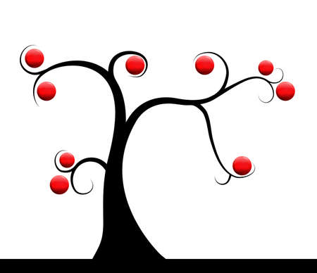 tree with red berries Stock Vector - 17424292