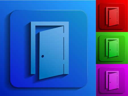 door knob: exit door monochrome icons Illustration