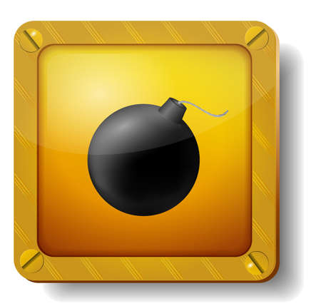 golden bomb icon Illustration