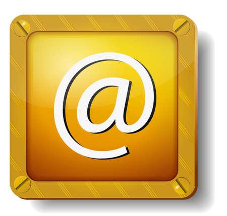 golden e-mail icon Stock Vector - 20277873