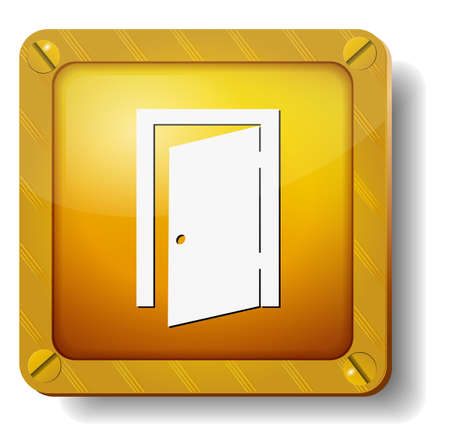 golden exit door icon Stock Vector - 20277870