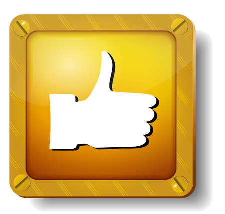 golden thumb up icon Vector