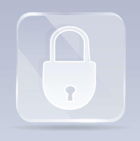 closed lock: glass closed lock icon