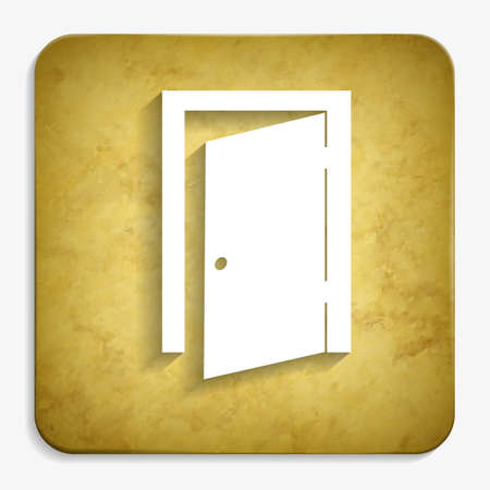 hinges: exit door parchment icon Illustration