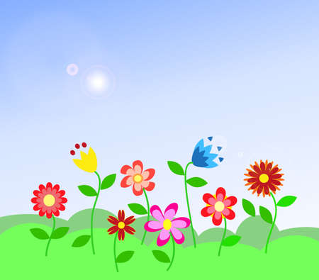 kid`s colorful flowers Illustration