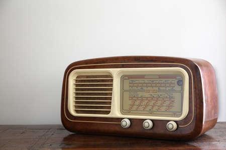 short wave: Italian antique radio in wooden casing Stock Photo