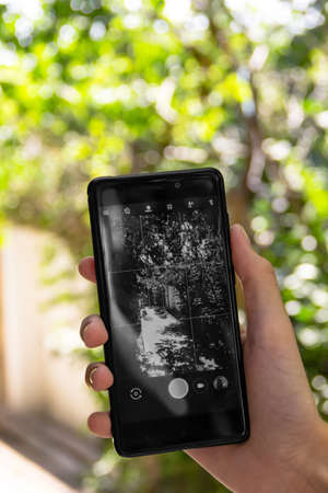 the girl uses the camera in the phone, holding it in one hand, the world on the screen is black and white. close-up photo. the background contains blurred trees on a bright Sunny day