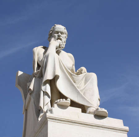 athens: Neoclassical statue of ancient Greek philosopher, Socrates, outside Academy of Athens in Greece