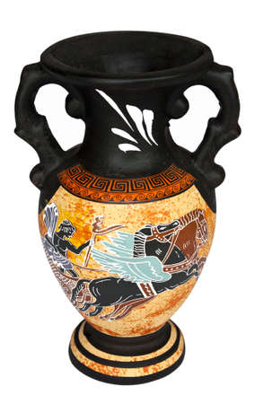 Replica of antique Greek vase isolated on white showing Apollo riding the Chariot of the Sun. photo