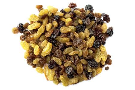 Assorted raisins isolated on white photo