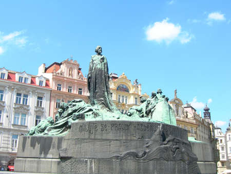 Jan Hus Monument in the old town square of Prague.