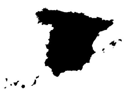Illustration in black of map of Spain including Balearic Islands and Canary Islands.