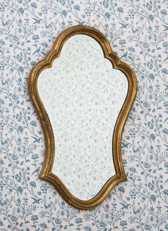 Golden Mirror Frame on Wall with Victorian Wallpaper Stock Photo - 6163367
