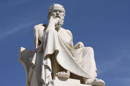 neocl�sico: Estatua neocl�sico del fil�sofo griego, S�crates, Academia fuera de Atenas en Grecia