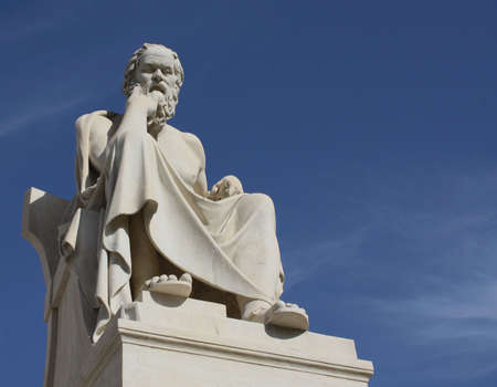 Neoclassical statue of ancient Greek philosopher, Socrates, outside Academy of Athens in Greece