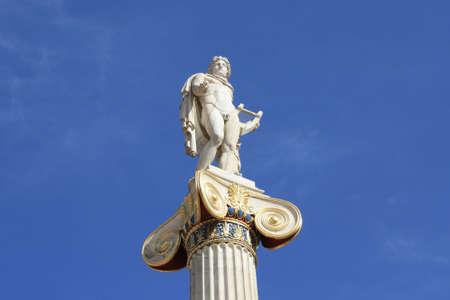 Neoclassical statue of Apollo, god of the sun, medicine and the arts.