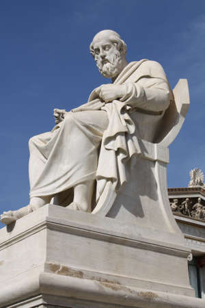 platon: Neoclassical statue of ancient Greek philosopher Plato in front of Academy of Athens, Greece. Stock Photo