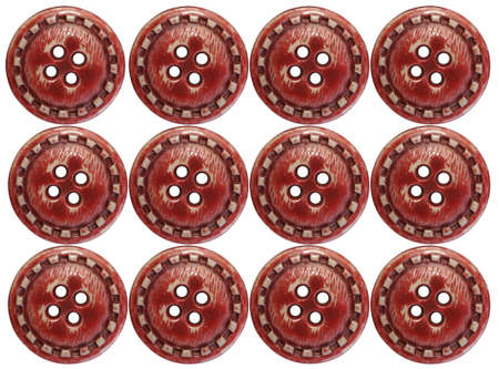 Twelve red buttons over a white background. Stock Photo - 6304302