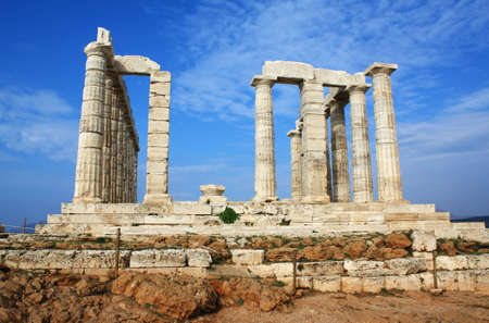 Remains of Temple of Poseidon, god of the sea in ancient Greek mythology, at Cape Sounion, near Athens (Greece). photo