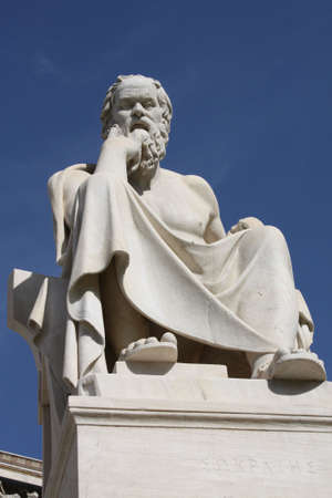 Neoclassical statue of ancient Greek philosopher, Socrates, outside Academy of Athens in Greece. photo