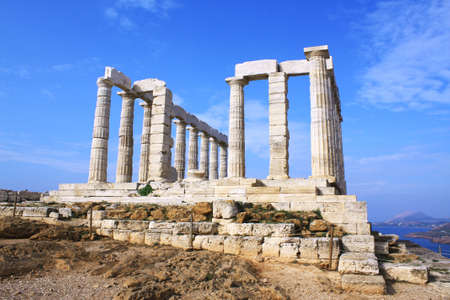 Remains of Temple of Poseidon, god of the sea in ancient\ Greek mythology, at Cape Sounion, near Athens (Greece).