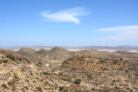 Arid landscape in Nijar in the province of Almeria, south-east of Spain. Stock Photo