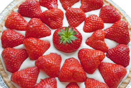 Closeup of homemade strawberry cheese cake. Stock Photo