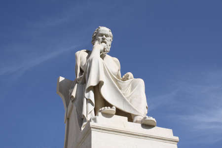 thinker: Neoclassical statue of ancient Greek philosopher, Socrates, outside Academy of Athens in Greece. Stock Photo