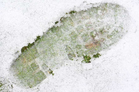 Closeup of a shoeprint on ice covered lawn. Stock Photo