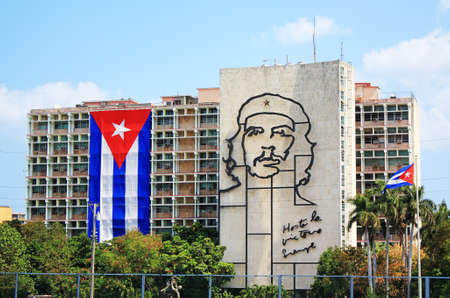Havana, Cuba - April 4, 2011 - Image of Che Guevara in Revolution Square in Havana.